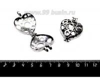 Подвеска Медальон Сердце Пузырьки Страсти 41*30*13 мм, цвет старое серебро 1 штука 057148 - 99 бусин