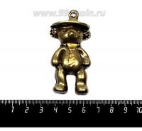 Подвеска Мишка в Шляпе и Галстуке 63*30 мм, цвет бронза/золото, 1 штука 057149 - 99 бусин