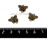 Коннектор Бабочка Мотылек 2 петли 13*14 мм цвет бронза 3 штуки/упаковка 057152 - 99 бусин
