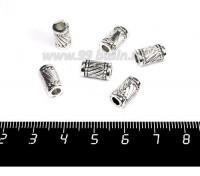 Бусина металлическая Крученый Цилиндрик, 11*6 мм, внутреннее отверстие 3 мм, цвет старое серебро, 6 штук/упаковка 057156 - 99 бусин