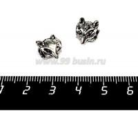 Бусина металлическая Лиса, 11*9 мм, внутреннее отверстие 4 мм, цвет старое серебро, 1 штука 057157 - 99 бусин