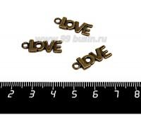 Подвеска Надпись LOVE 22*8 мм, цвет бронза, 1 штука 057169 - 99 бусин