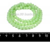 Бусина стеклянная на нити Мелкая грань 6*4 мм, цвет мятно-зеленый около 100 штук/нить 057250 - 99 бусин