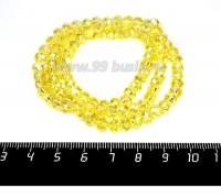 Бусина хрустальная на нити 6*4 мм, цвет желтый/перламутр около 100 штук/нить 057251 - 99 бусин