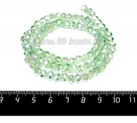 Бусина стеклянная на нити Мелкая грань 6*4 мм, цвет светло-зеленый/перламутр около 100 штук/нить 057252 - 99 бусин