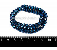 Бусина хрустальная на нити 6*4 мм, цвет синий электрик около 95 штук/нить 057259 - 99 бусин