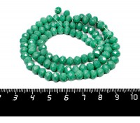 Бусина хрустальная на нити 6*4 мм, цвет зеленый морской непрозрачный, около 100 штук/нить 057260 - 99 бусин
