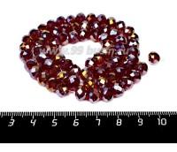 Бусина стеклянная на нитке мелкая грань 8*6 мм цвет рубиновый/бензин около 40 см/нить 057279 - 99 бусин