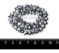 Бусина стеклянная на нитке мелкая грань 8*6 мм цвет серебристый около 40 см/нить 057281 - 99 бусин