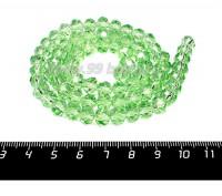Бусина стеклянная на нитке мелкая грань 8*6 мм цвет светло-зеленый около 40 см/нить 057283 - 99 бусин
