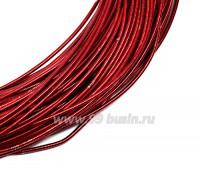 Канитель гладкая жесткая (жемчужная) 1 мм, цвет красный пр-во Индия, упаковка 5 грамм (общая длина около 1,2 метров) 057304 - 99 бусин