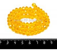Бусина стеклянная на нитке мелкая грань 8*6 мм цвет солнечный жёлтый около 40 см/нить 057375 - 99 бусин