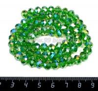 Бусина стеклянная на нитке мелкая грань 8*6 мм цвет зеленый бензин около 40 см/нить 057393 - 99 бусин