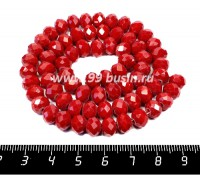 Бусина стеклянная на нитке мелкая грань 8*6 мм цвет непрозрачный темно-красный около 40 см/нить 057398 - 99 бусин