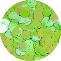 Пайетки 10 мм смещенное отверстие, цвет салатовый радужный 15 грамм пр-во Китай 057421 - 99 бусин