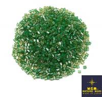 Рубка Matsuno Hexagon 2.1 мм цвет 225 салатовое стекло зеленое отверстие, Япония 10 грамм 057439 - 99 бусин