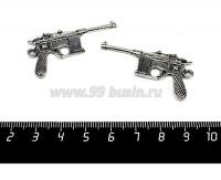 Подвеска Пистолет Маузер , 43*23 мм, цвет старое серебро, 1 штука 057450 - 99 бусин