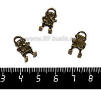 Подвеска Робот маленький 18*9 мм, цвет бронза, 3 штуки/упаковка 057461 - 99 бусин