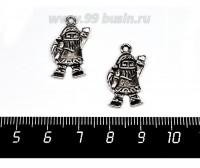 Подвеска Санта Нарядный, 23*13 мм, цвет старое серебро 2 штуки/упаковка 057462 - 99 бусин