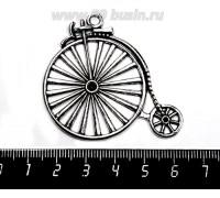 Подвеска Ретро велосипед 52*46 мм, цвет старое серебро, 1 штука 057471 - 99 бусин