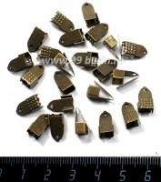 Концевики металлические нахлест с прижимной площадкой 11*6 мм цвет бронза 40 штук/упаковка 057527 - 99 бусин