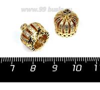 Колпачок Премиум Корона с микроцирконами 13*10 мм цвет золото 1 штука 057529 - 99 бусин
