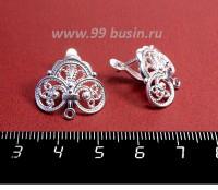 Швензы ювелирные Роскошь 19*17 мм, посеребрение 12 мк , 1 пара, производство РОССИЯ 057548 - 99 бусин