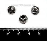 Бусина металлическая Маргаритки 9*8 мм, внутреннее отверстие 5 мм, цвет старое серебро 1 штука 057549 - 99 бусин