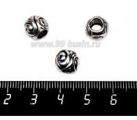 Бусина металлическая Завитки 9*8 мм, цвет старое серебро, 1 штука 057550 - 99 бусин
