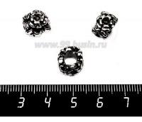 Бусина металлическая Цветы 12*8 мм, цвет старое серебро 1 штука 057552 - 99 бусин