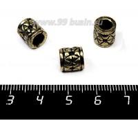 Бусина металлическая Цилиндр Геометрия 9*9 мм, внутреннее отверстие 5 мм, цвет античное золото 1 штука 057555 - 99 бусин