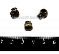 Бусина металлическая Денежный мешок 11*8 мм,  внутреннее отверстие - 5 мм, цвет бронза 1 шт 057557 - 99 бусин
