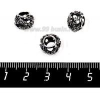 Бусина металлическая Листики 10*8 мм, цвет старое серебро 1 штука 057560 - 99 бусин