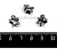 Бусина металлическая Человечек 12*11 мм, внутреннее отверстие - 4 мм, цвет старое серебро, 1 штука 057562 - 99 бусин