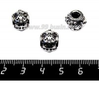 Бусина металл. Узор Четырехлистник 13*10 мм, внутреннее отверстие - 4 мм, цвет старое серебро 1 штука 057566 - 99 бусин