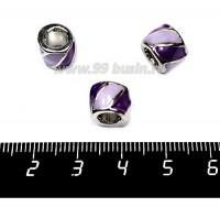Бусина металлическая Бочонок с эмалью, 10*8 мм, внутреннее отверстие 5 мм, цвет серебро/сиреневый/фиолетовый, 1 штука 057567 - 99 бусин