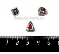 Бусина металлическая Треугольная с эмалью, 10*9 мм, внутреннее отверстие 5 мм, цвет серебро/красный, 1 штука 057568 - 99 бусин