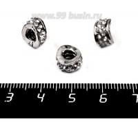 Бусина металлическая Спейсер Гнутый бесцветные стразы, 10*6 мм, внутреннее отверстие 4 мм, цвет серебро, 1 штука 057571 - 99 бусин