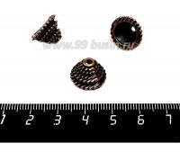 Колпачок для бусин Шестерёнки 12*12*8 мм цвет старая медь 1 штука 057578 - 99 бусин
