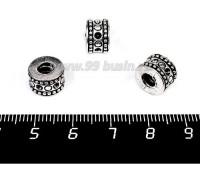 Бусина металлическая Барабан 10*7 мм, внутреннее отверстие - 4 мм, цвет старое серебро, 1 штука 057583 - 99 бусин