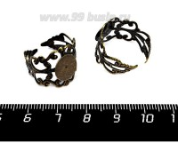 Основа для кольца Вензель с площадкой, цвет бронза, диаметр площадки 10 мм  2 штуки/упаковка 057584 - 99 бусин