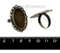 Основа для кольца Кружева, площадка 25*18 мм, цвет бронза, 1 штука 057590 - 99 бусин