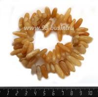 Натуральный камень ХАЛЦЕДОН, бусины - Столбики 13*5*6 - 24*6*7 мм, непрозрачные медовые оттенки ок. 39 см/нить 057625 - 99 бусин