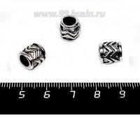 Бусина металлическая Зигзаг 9*9 мм, внутреннее отверстие - 5 мм, цвет старое серебро, 1 штука 057628 - 99 бусин