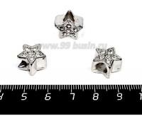 Бусина металлическая Звезда со Стразами 13*9 мм, внутреннее отверстие - 5 мм, цвет старое серебро/бесцветные стразы, 1 штука 057629 - 99 бусин