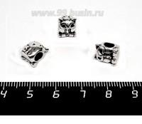 Бусина металлическая Филин 10*8 мм, внутреннее отверстие - 4 мм, цвет старое серебро, 1 штука 057633 - 99 бусин