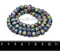 Бусины стеклянные на нити Метеориты 9*7 мм, шероховатые/гладкая полоска, цвет мультиколор, около 48 см нить/70 бусин 057638 - 99 бусин