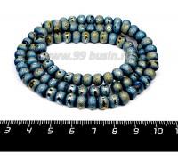 Бусины стеклянные на нити Метеориты 7*5 мм, шероховатые/гладкая полоска, цвет зеленовато-голубой, около 54 см нить/100 бусин 057641 - 99 бусин