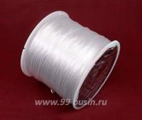 Шнур латексный эластичный ПЛОСКИЙ 0,8*0,4 мм белый катушка около 90 метров 057654 - 99 бусин