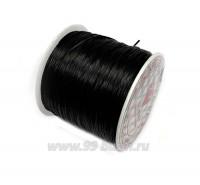 Шнур латексный эластичный ПЛОСКИЙ 0,8*0,4 мм черный катушка около 100 метров 057655 - 99 бусин